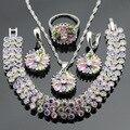 Partido Conjuntos de Jóias de Cor prata Criado Pedras Multicolor CZ Colar Pingente Pulseiras Brincos Anéis Para As Mulheres Caixa de Presente Livre