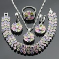 Silver Color Party Jewelry Sets Created Multicolor Stones CZ Necklace Pendant Bracelets Earrings Rings For Women Free Gift Box