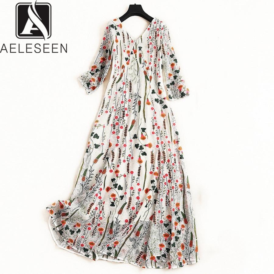 AELESEEN Luxury Bohemian Dress 2019 Summer Spring Women s 3 4 Sleeve V Neck Flower Mesh