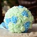 2017 Barato de La Boda/la Dama de honor Ramos de Flores de Color Verde Claro y Azul ramo de la Rosa Artificial Ramo de Novia Hecho A Mano de mariage boda