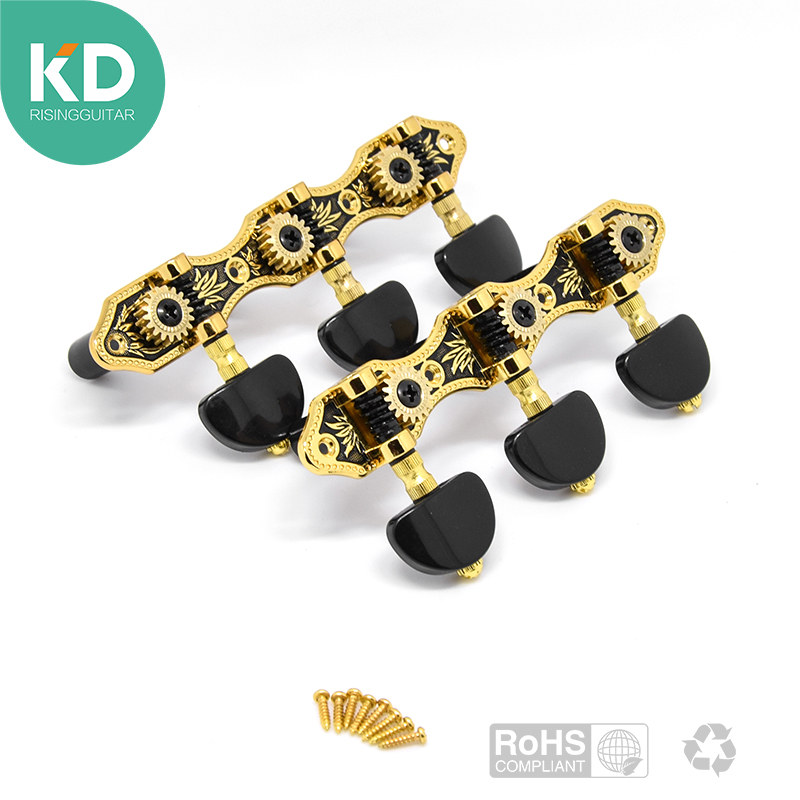 6 sets Classical Guitar Tuning Pegs Machine Heads Black and gold color Vintage style guitar parts
