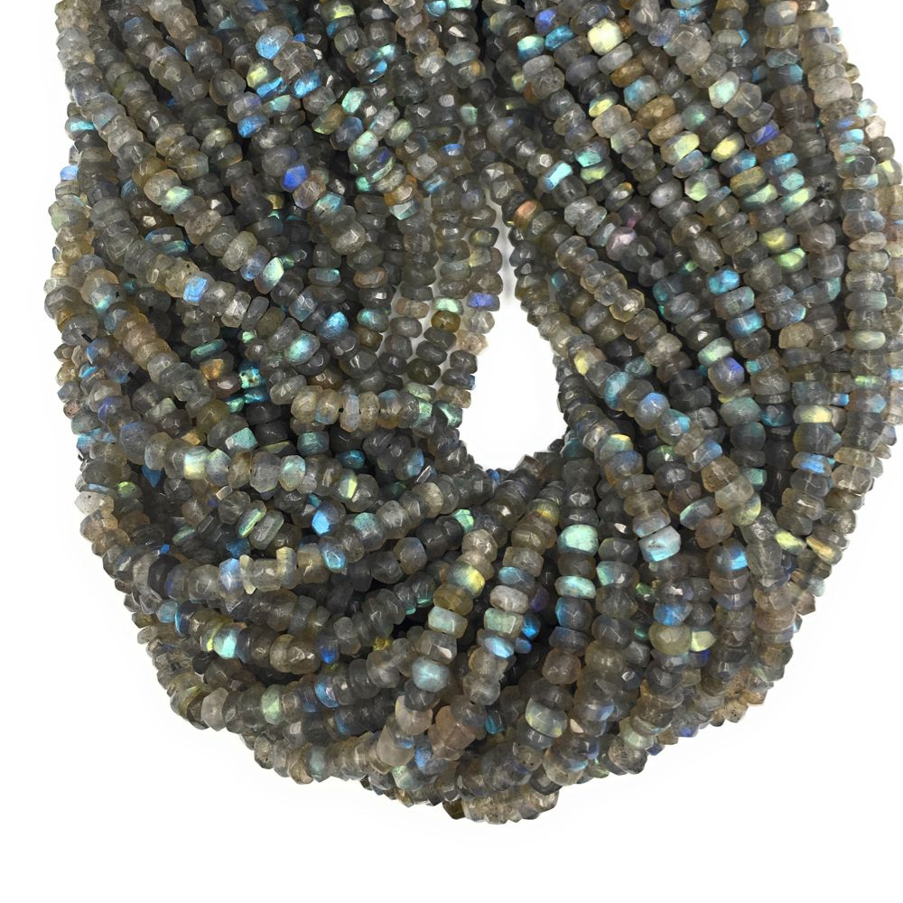Lii Ji Gemstone Labradorite Flat Round shape Faceted bead about 2x5mm 32cm/strand DIY Jewelry Making Necklace or Bracelet