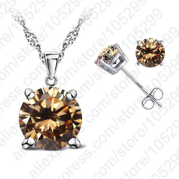 Moderne Feine Schmuck 4 Claws Zirkonia Gute Qualität 925 Sterling Silber Schmuck Sets Gestüt Ohrring Anhänger Halskette