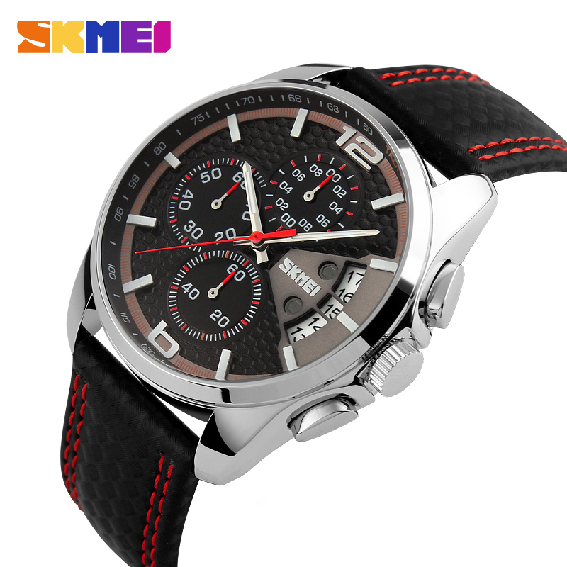 Sports Quartz Movement Watch Leather Strap Waterproof