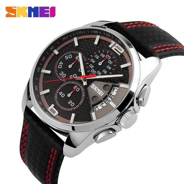 2016 Nova Marca de Luxo Homens Esportes Relógios de Quartzo de Negócios de Moda Relógio Masculino Pulseira de Couro Militar Do Exército relógios de Pulso À Prova D' Água