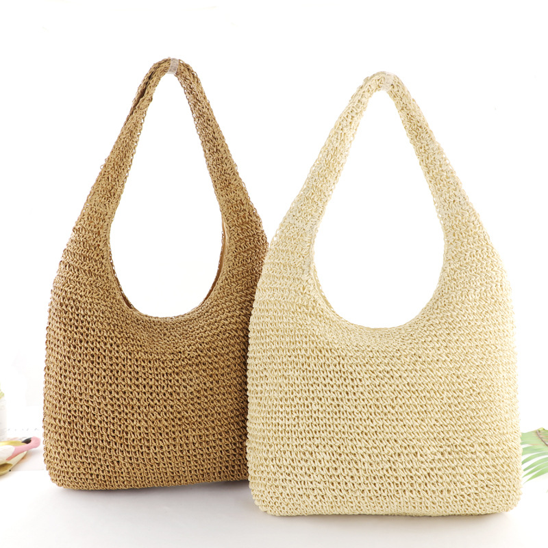 Pure Color Straw Bag Simple Fashion Woven Bag Beach Bag Lady Casual Handbag