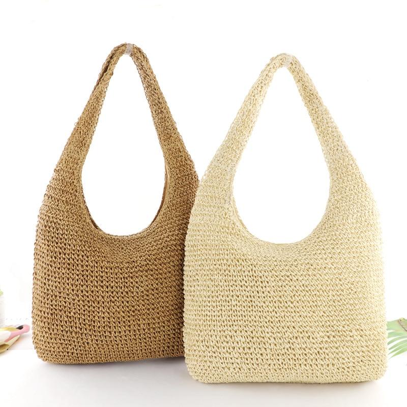 Pure Color Straw Bag Simple Fashion Woven Bag Beach Bag Lady Casual Handbag