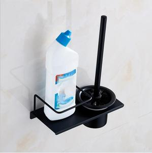 Image 3 - Modern Wall Mounted 304 Stainless Steel Black Toilet Brush Holder With Stainless Steel Cup, Bathroom Wall Hanging Storage Shelf