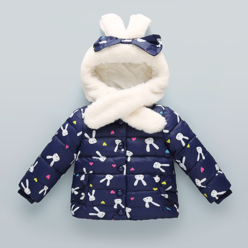 Kids Children Winter Warm Down Parkas Jacket Coat Cartoon Jackets For Girls Christmas Hooded Kids Warm Coats With Ear 2017 new winter sytle children clothing fashion cartoon print girls down & parkas 1 6y hooded children jackets coats for girls