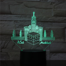 Usb 3d Led Night Light Mecca Mosque Makka Atmosphere Lamp Decoration RGB Kids Baby Gift Famous Buildings Table Lamp Bedside neon india taj mahal usb 3d led night light veilleuse lamp decoration rgb kids baby gift famous buildings table lamp bedside neon