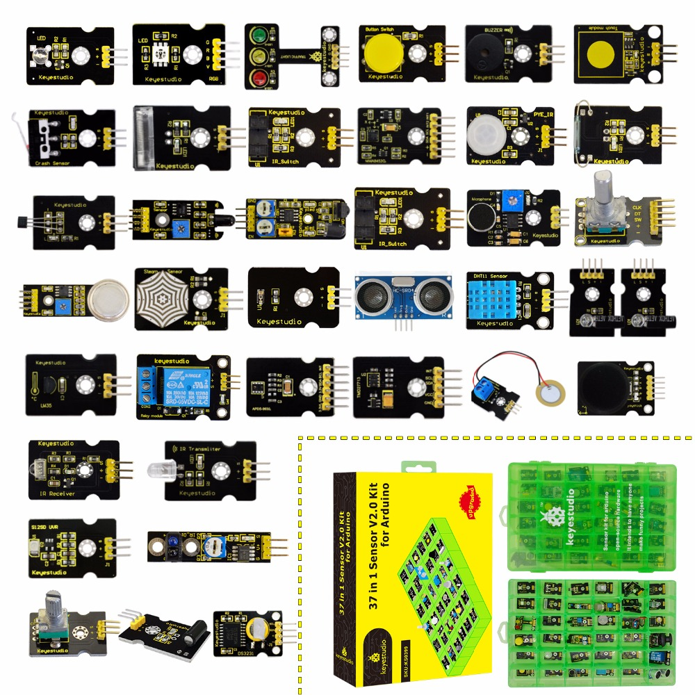 2019 nowość! keyestudio nowy czujnik Starter V2.0 zestaw 37 w 1 Box (bez płyta główna) dla Arduino zestaw w Zestawy automatyki domowej od Elektronika użytkowa na  Grupa 1