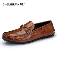 CHENGYUAN Men S Atmosphere Crocodile Pattern Casual Shoes Exquisite British Comfortable Driving Flats Peas Shoes Leather