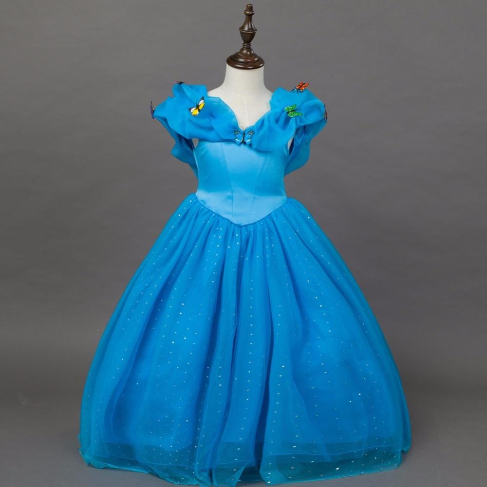 Fashion party designer kids wear christmas pageant dresses blue kids cinderella dress princess costume