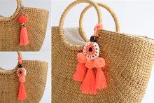 1pc laranja pompons chaveiros feminino bolsa encantos pom pom chaveiro com borla boêmio