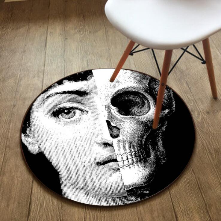 Fashion Fornasetti Carpet Round Rug Living Room Doormat Decor Floor Mat Classical Lisa Face Yoga Tapete Portrait Blankets 05485
