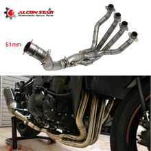 Alconstar- For Kawasaki Z1000 2010-1017 Motorcycle Exhaust Muffler Middle Pipe Modified Front Pipe Tube Full System with Sensor все цены