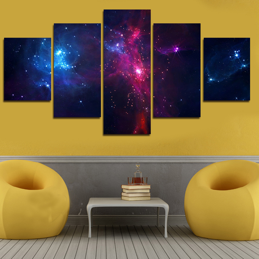 Drop Shipping 5 Piece Set Canvas Art Painting Galaxy Planet Universe ...