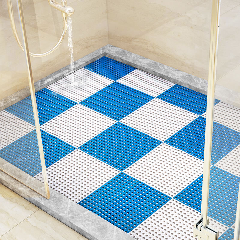 2 Pcs/lot Blue Bathroom DIY Mats Solid PVC Handmade Stitching Hollow Non-slip Foot Mats  ...