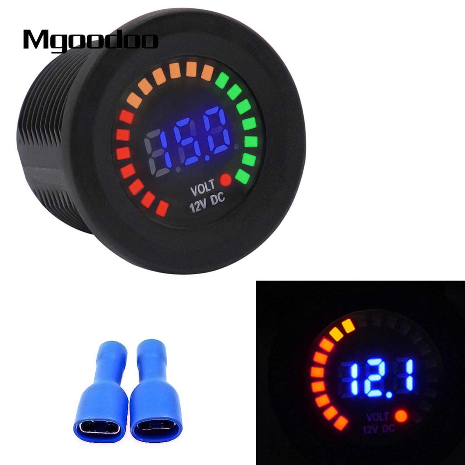 Blue Led Meter : Mgoodoo car motorcycle waterproof voltmeter blue led