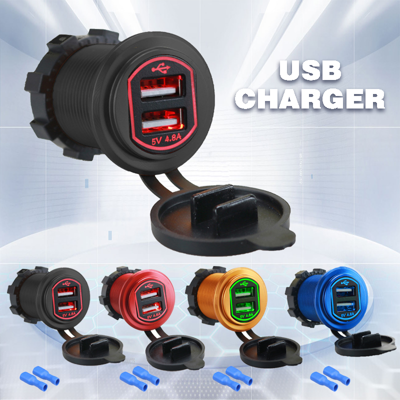 12-24V 4.8A Dual USB Port Car Charger Socket Adapter For Mobile Cell Phone Waterproof Dual USB Charger 2 Ports Power Socket