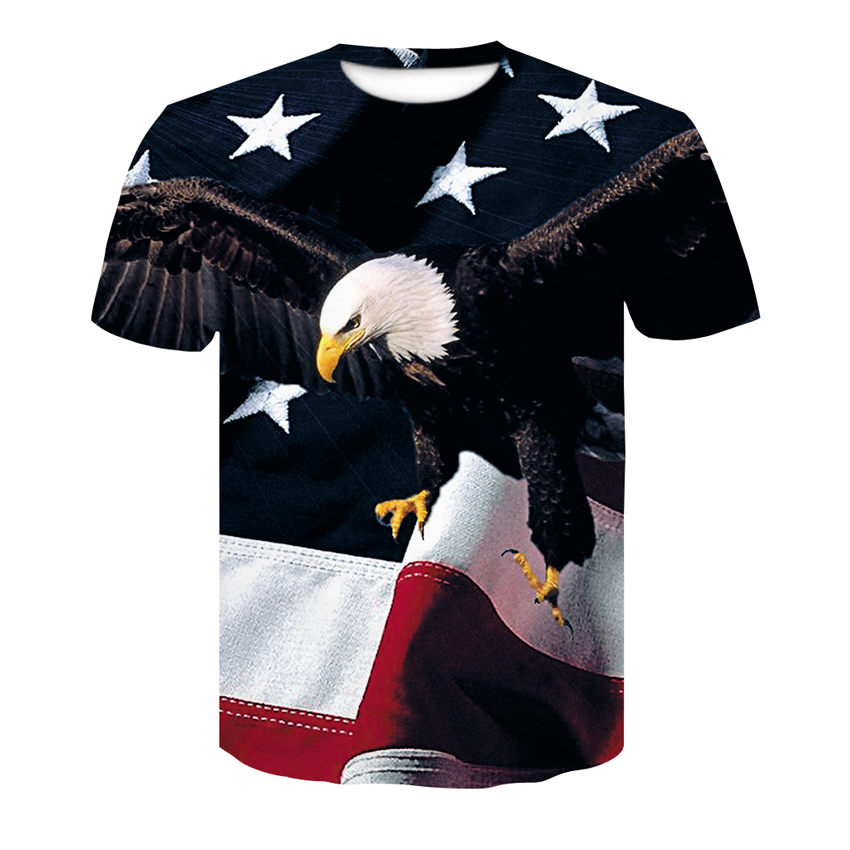 Summer Fashion Men's T-shirt 3D Harajuku American Flag With Eagle Casual Short Sleeve Menswear Quick-drying Round Neck T-shirt
