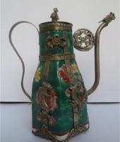 Design Silver Handmade Chinese Green Ceramic Tea Pot Tibetan Silver Flagon Tools Wedding Decoration Brass