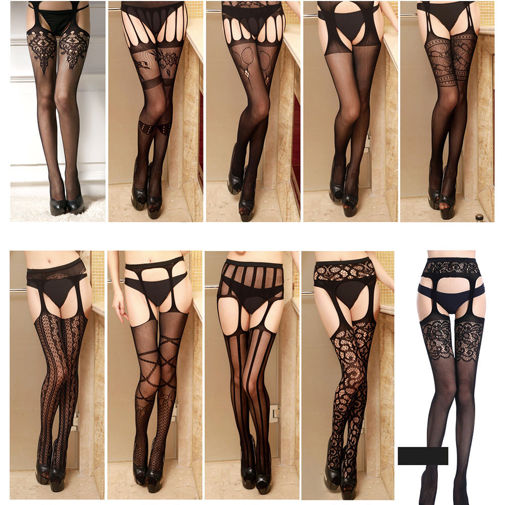 Women Lingerie Stripe Elastic Stockings Sexy Transparent Black Fishnet Stocking Thigh Sheer Tights Embroidery Pantyhose Dropship