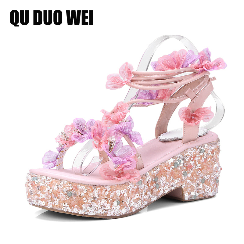 Genuine Leather Women Sandals Shoes Open Toe Sweet Flower Appliques Summer Flip Flops Butterfly Beading Crystal High Heels Shoes sandals women flower beading summer flip