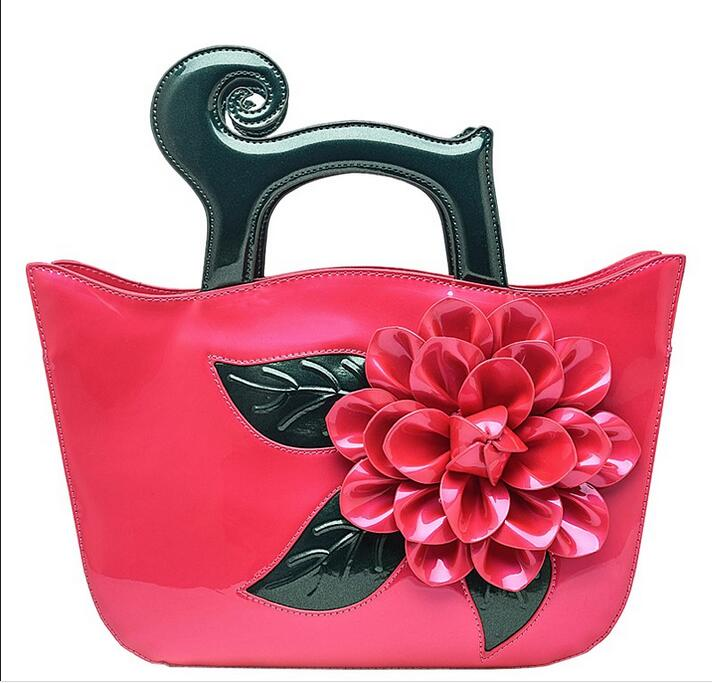 2017 3 D flower handbag high quality PU leather women shoulder bag lady big rose tote bag  one shoulder cross body bag