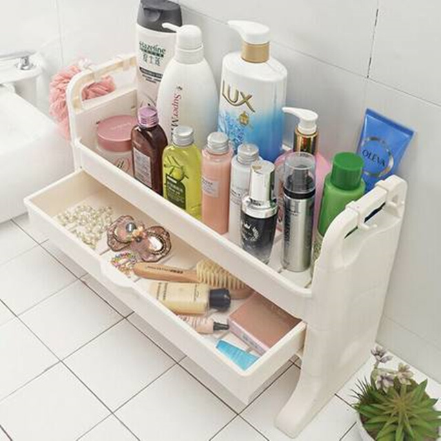 2 Layers Toilet Bathroom Storage Rack For Shower Gel Shampoo Makeup Organizer Shelf With Drawer E