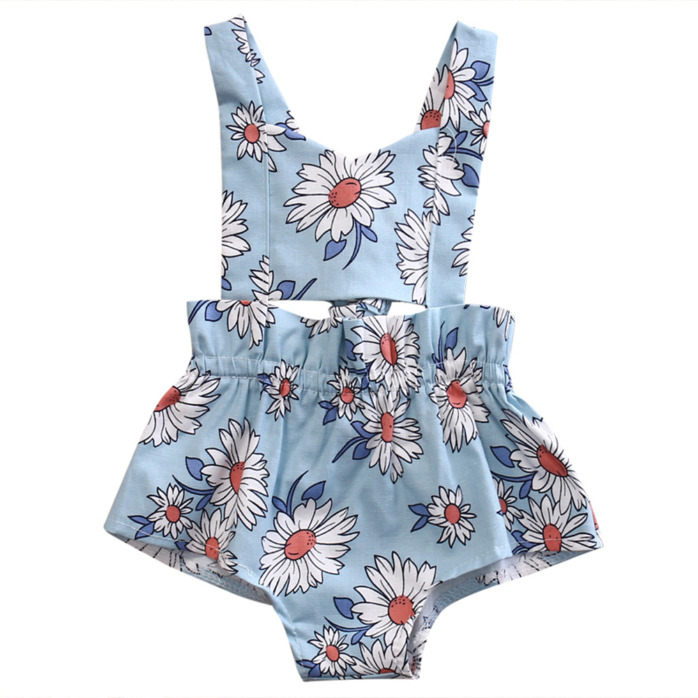 Kids Infant Baby Girl Backless Sunflower Romper Jumpsuit Playsuit Newborn Toddler Clothes Cotton One-Pieces Outfits newborn infant baby girl clothes strap lace floral romper jumpsuit outfit summer cotton backless one pieces outfit baby onesie