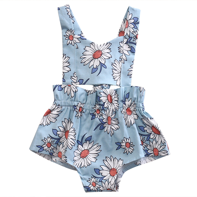 9e268a8550a Kids Infant Baby Girl Backless Sunflower Romper Jumpsuit Playsuit Newborn  Toddler Clothes Cotton One-Pieces Outfits