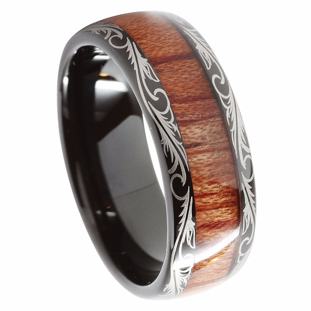8mm Black Tungsten carbide Ring Koa Wood Inlay Dome Matching Wedding Bands Men's jewelry black tungsten carbide with dark wood inlay mens wedding ring