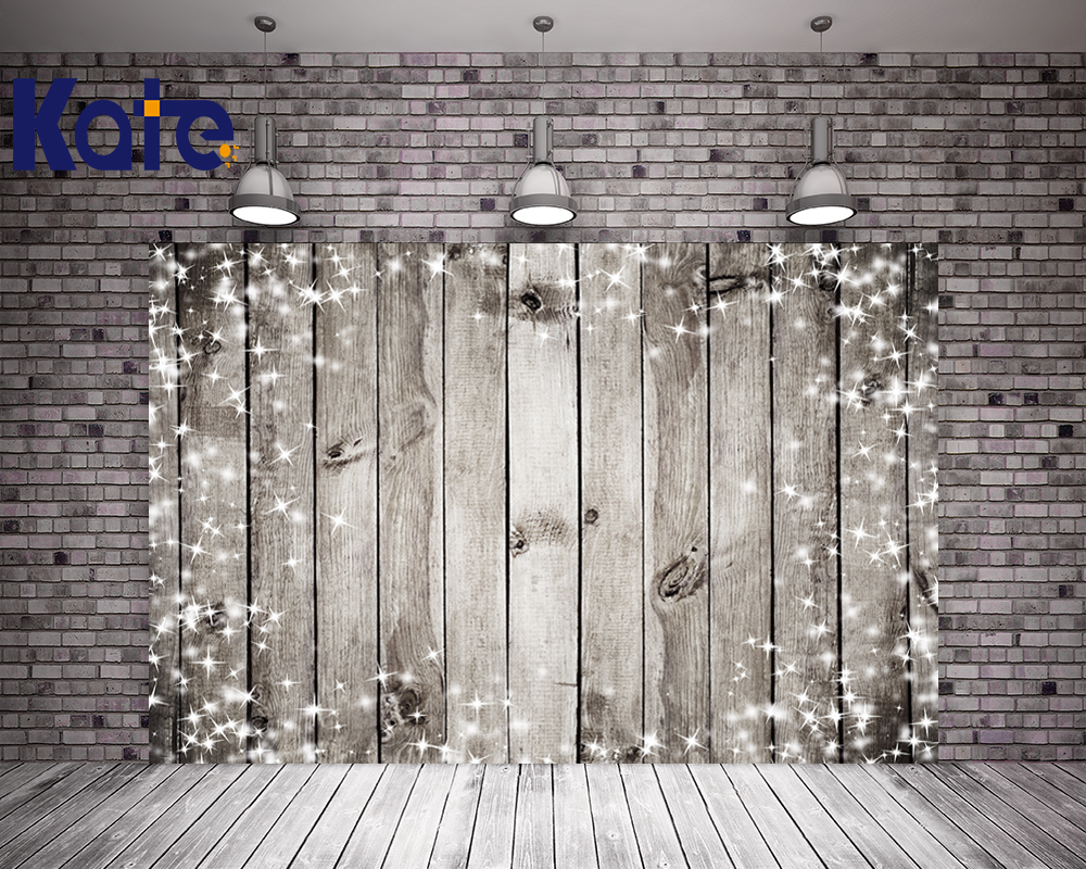 Kate Retro Wood Wall Photography Backdrops White Stars Lights Background For Newborn Photo Studio retro background christmas photo props photography screen backdrops for children vinyl 7x5ft or 5x3ft christmas033
