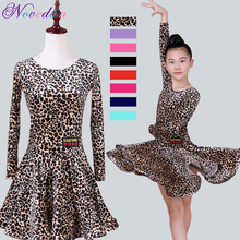 Leopard Stage Performance Dress Girls Latin Dance Clothing Sequin Kids Bright Color Latin Salsa Dresses Samba Dance Costumes