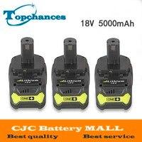 3PCS High Capacity New 18V 5000mAh Li Ion For Ryobi Hot P108 RB18L40 Rechargeable Battery Pack