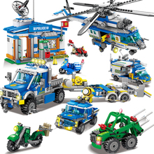 City SWAT Police Station Blocks Motorbike Helicopter Model Building Brick Educational Construction Toys For Children