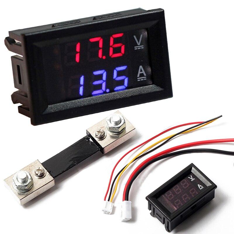 DC100V 100A Digital Voltmeter Ammeter Blue Red LED Amp Volt Meter with 100A Current Shunt