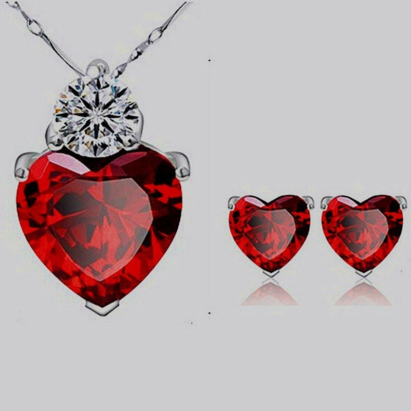 Fashion Jewelry Sets Women Personality Peach Heart Noble Elegant Vintage Necklaces Earrings Euramerican Pendants for Female