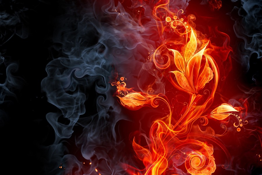 Абстрактный пламя дым цветы CG цифровое искусство, шелковое Искусство Плакат и принты