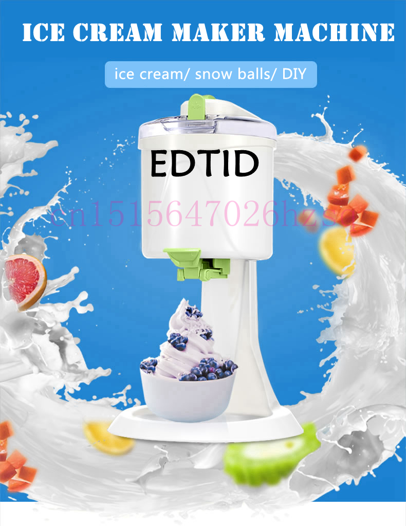 EDTID Automatic Ice Cream Maker Frozen Yogurt and Sorbet Maker Machine Household edtid portable automatic ice maker household bullet round ice make machine for family small bar coffee shop 220 240v 120w eu us