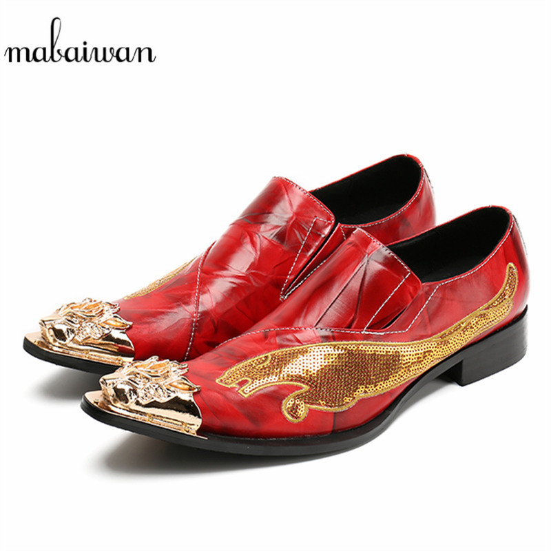 Mabaiwan New Casual Shoes Men Red Leather Loafers Gold Dragon Paillette Slipper Wedding Dress Shoes Men Slip On Handmade Flats new fashion gold snakeskin pattern loafers men handmade slip on leather shoes big sizes men s party and prom shoes casual flats