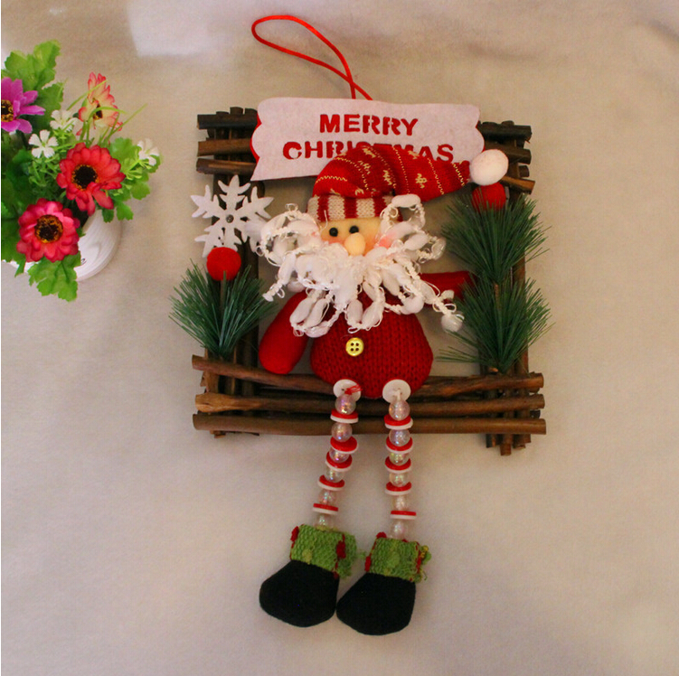 2pcslot christmas decorations wooden outdoor christmas wreath hanging cloth fabric door hanging snowman santa claus in christmas from home garden on