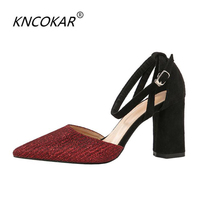 KNCOKAR Trendy high heeled clubs sexy women's single shoes with thick heels and professional women's single shoes