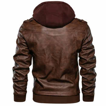 Men\'s Leather Jacket Casual Motorcycle Removable Hood Pu Leather Jacket 2019 New Male Oblique Zipper European size jaqueta couro