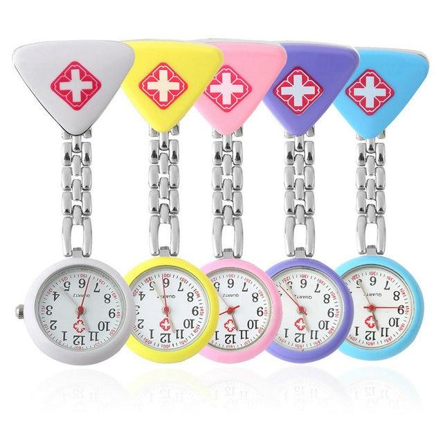 Clip Nurse Doctor Pendant Pocket Quartz Red Cross Brooch Nurses Watch Fob Hangin