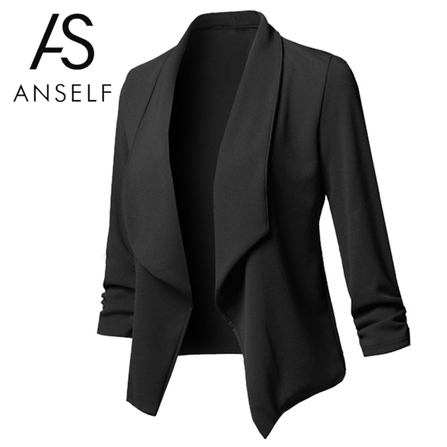 Blazers Women Office Work Wear Elegant Ladies Business Suit Long Sleeves Cardigan Coat Open Front Ruched Asymmetrical Casual top