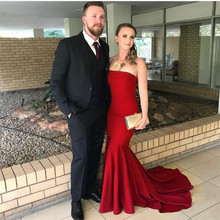 2019 High Quality Simple Elastic Satin Prom Party Dress Burgundy Mermaid Evening Strapless Sleeveless Long Gowns