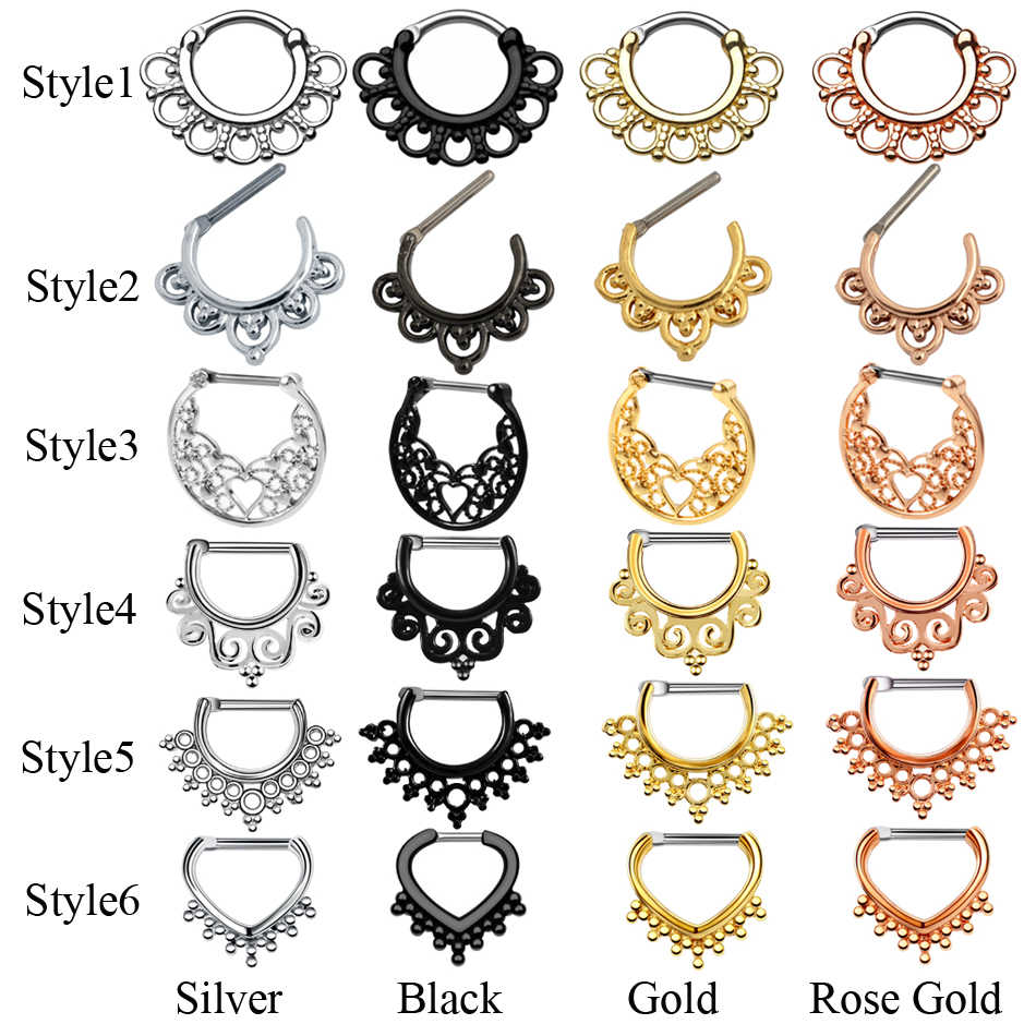 1PC Titanium Tribal Hinged Nose Septum Clicker Ring Piercings Ear Septum Helix Cuff Ring CZ Crystal Cartilage Earrings Jewelry
