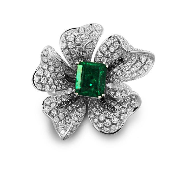 2017 Qi Xuan_Fashion Jewelry_Luxury Rectangular CZ Green Stones Rings_S925 Solid Sliver CZ Flower Rings_Factory Directly Sales cz h37s